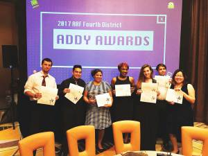 Pensacola State students, Zack Blessing and Amber Sidner, won silver at the 2017 American Advertising Awards national conference. The two also were among seven Pensacola State students to win at the 2017 AAF Fourth District ADDY Awards held in May. Pictured are, from left, Kyle Stamm, Blessing, Sidner, Darrian Montgomery, Kelli Bestgen, Timothy Bednarczyk and Katherine Chen.