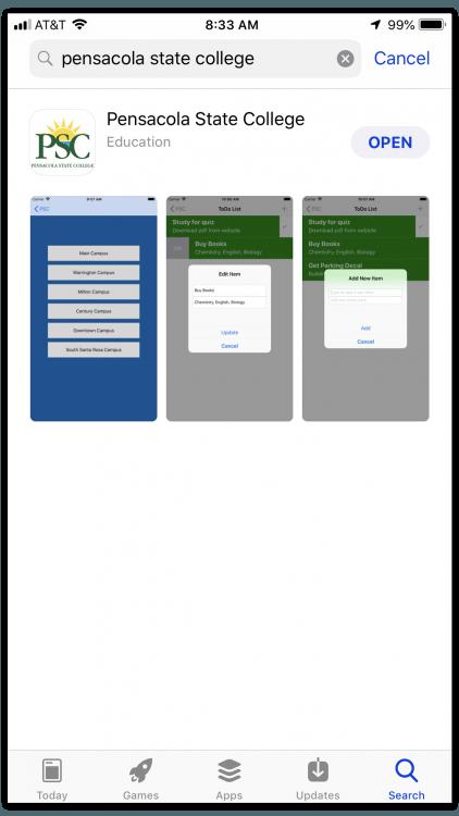 decorative image of AppStoreScreenshotds , Pensacola State College Mobile App 2019-08-28 09:23:56