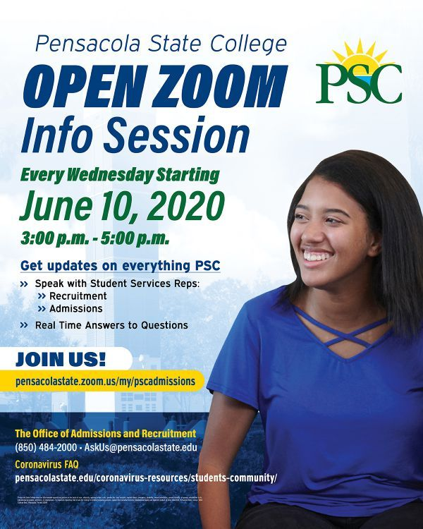decorative image of zoominfosession , Pensacola State College starts weekly Open Zoom Info Sessions to communicate with prospective students 2020-06-09 13:39:36