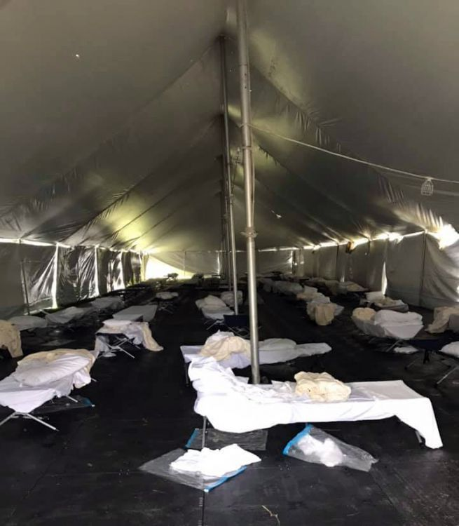 decorative image of insidetent , PSC's Pensacola campus used as emergency staging area after Hurricane Sally 2020-09-28 10:26:49