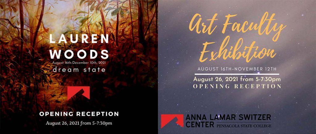 decorative image of artexhibits , Mobile artist Lauren Woods, PSC art faculty reception is Thursday 2021-08-25 14:06:43