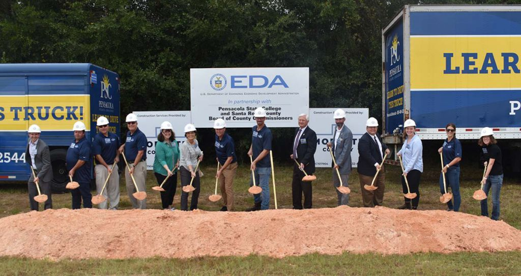 decorative image of groundbreaking , Pensacola State College breaks ground on 'game-changing' Truck Driver Training Facility 2021-10-01 10:21:01